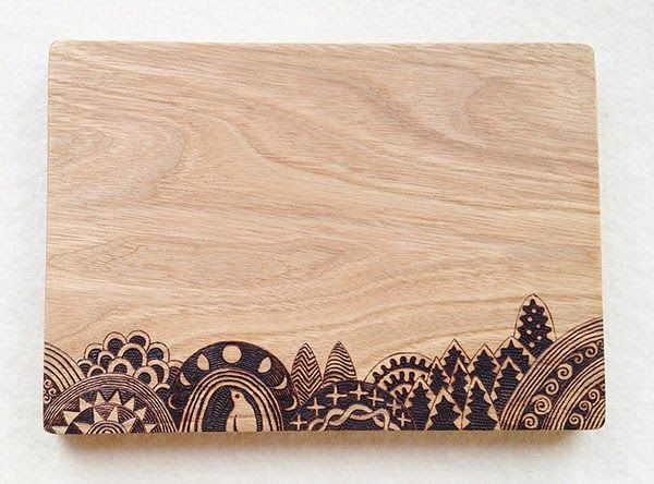 cool wood burned cutting board