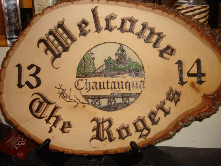 wood burning welcome the rogers