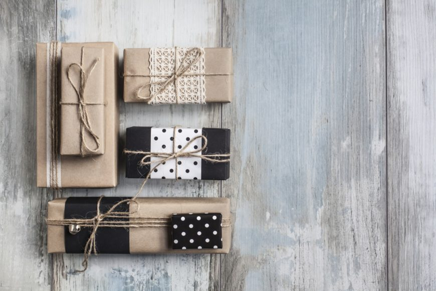Gift boxes in wooden background