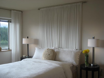 White curtain headboard