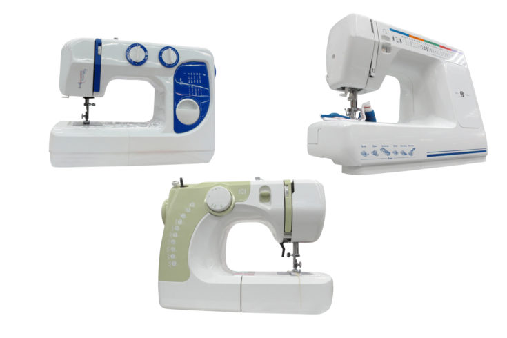 The image of sewing machines under the white background