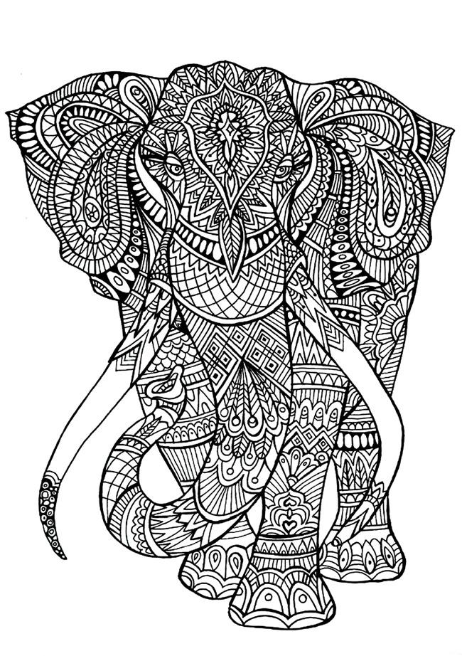 elephant pattern wood burning
