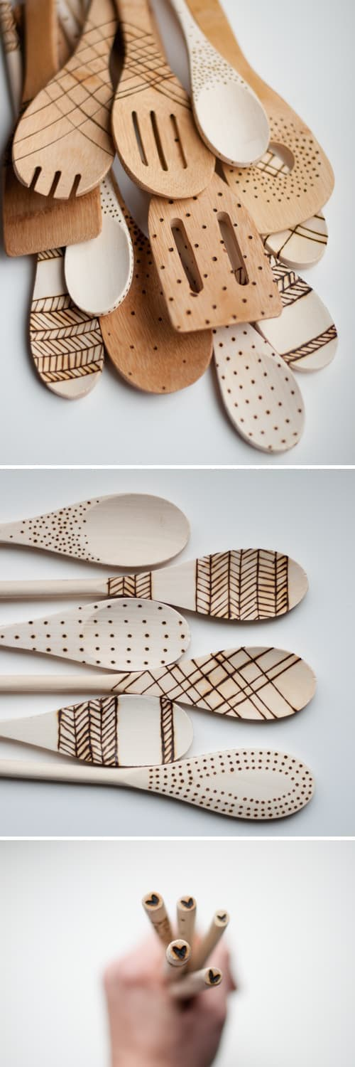 etched wooden spoons wood burned