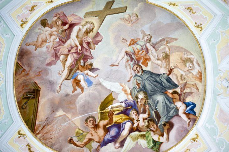 An image of a beautiful religious fresco in Ochsenhausen Germany