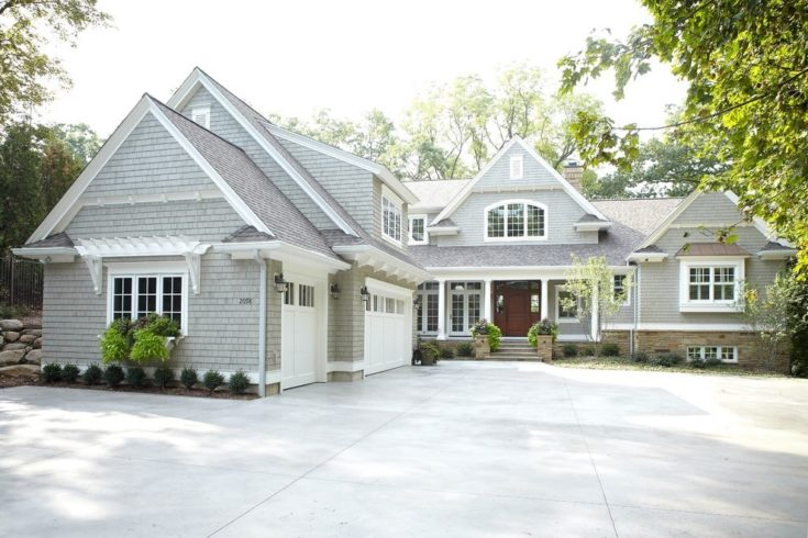 gray two-story wood exterior home