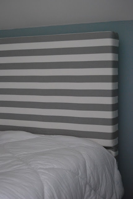 Thick rectangle headboard with white and gray stripes