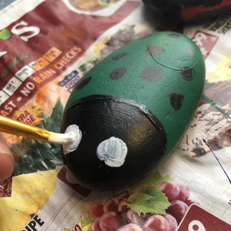 Painted white paint to form as an eyes for the minituare lady bug.