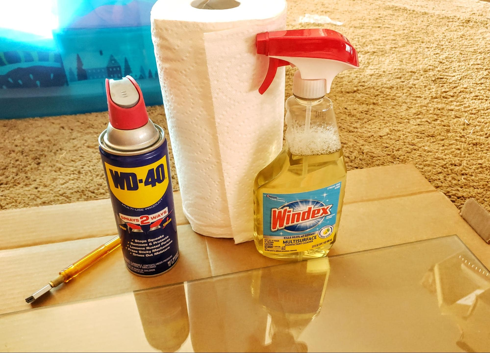Glass + Oil lubricant + Glass Cutter + Glass Cleaner + Tissue Paper