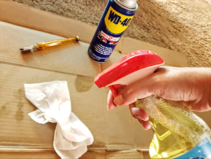 Woman hands spraying liquid cleaner on a table tissue.