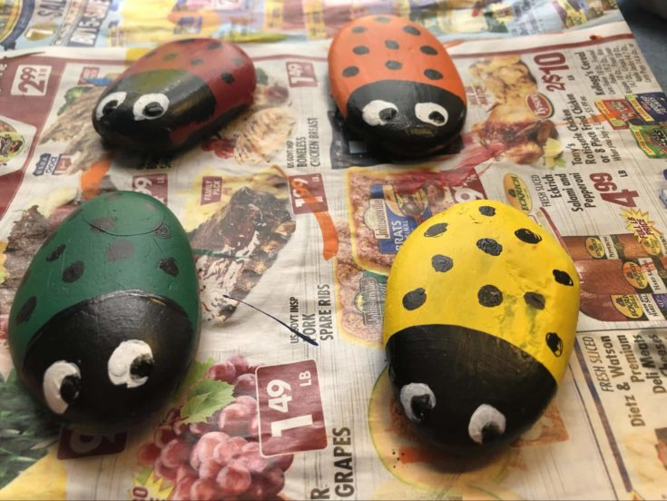 Added the pupils on the white eyes of some seriously cute little ladybugs.