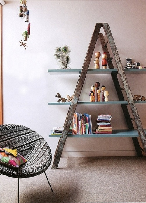 Natural wood ladder with painted shelves