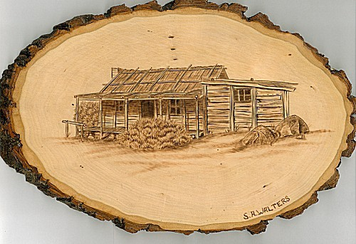 mountain hut wood burning pattern