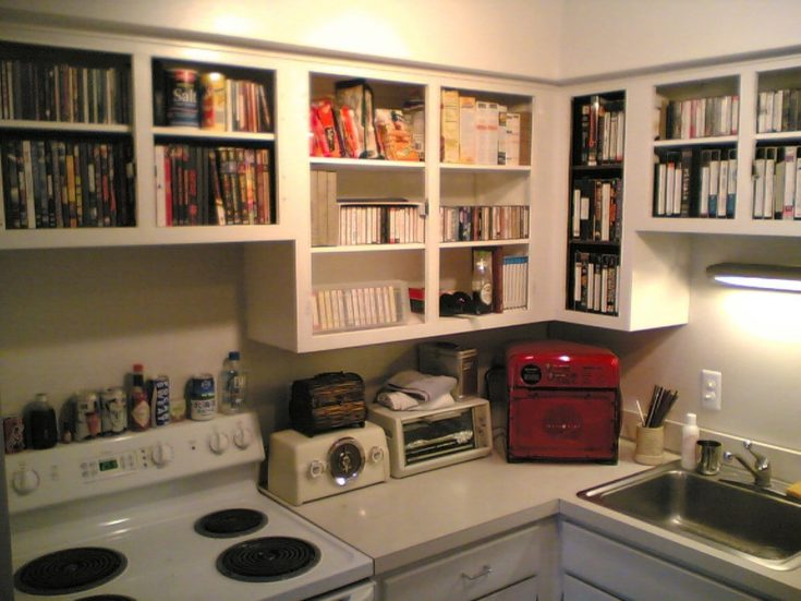 organized kitchen with books