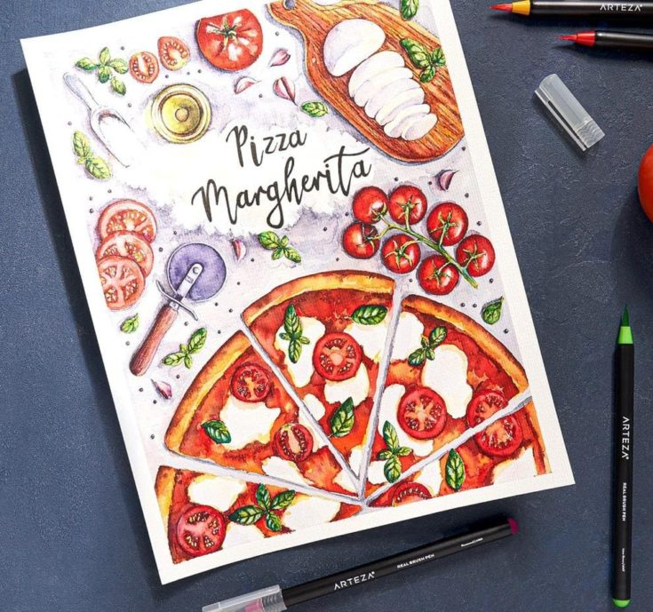 pizza margherita colored painting using arteza brush pen