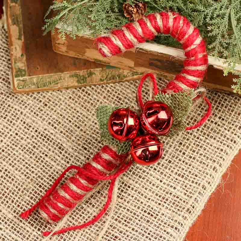Jute candy cane with three red bells