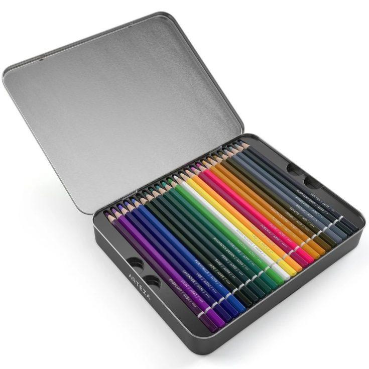 Arteza watercolor pencil on a box with white background