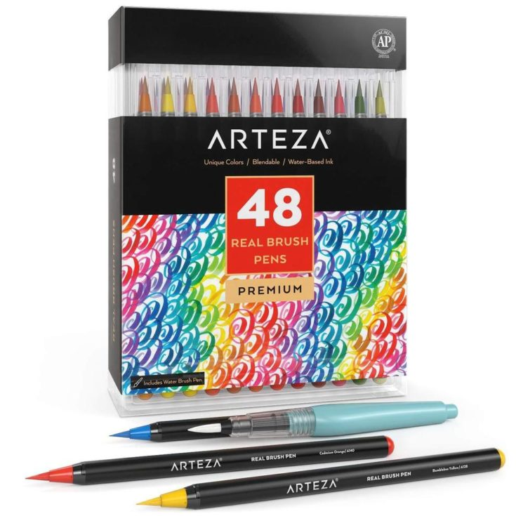 Arteza Real Brush Pens - Set of 48 packaging isolated in white background