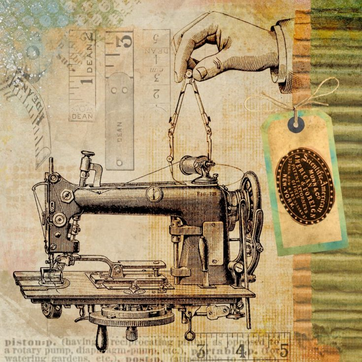 Image of an old sewing machine design with patent tag.