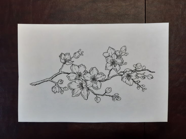 a drawing of flower in brown background