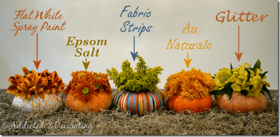 Pumpkin and gourd vases centerpieces