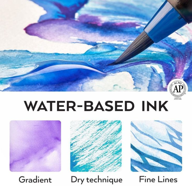 water based ink arteza brush pen - different techniques