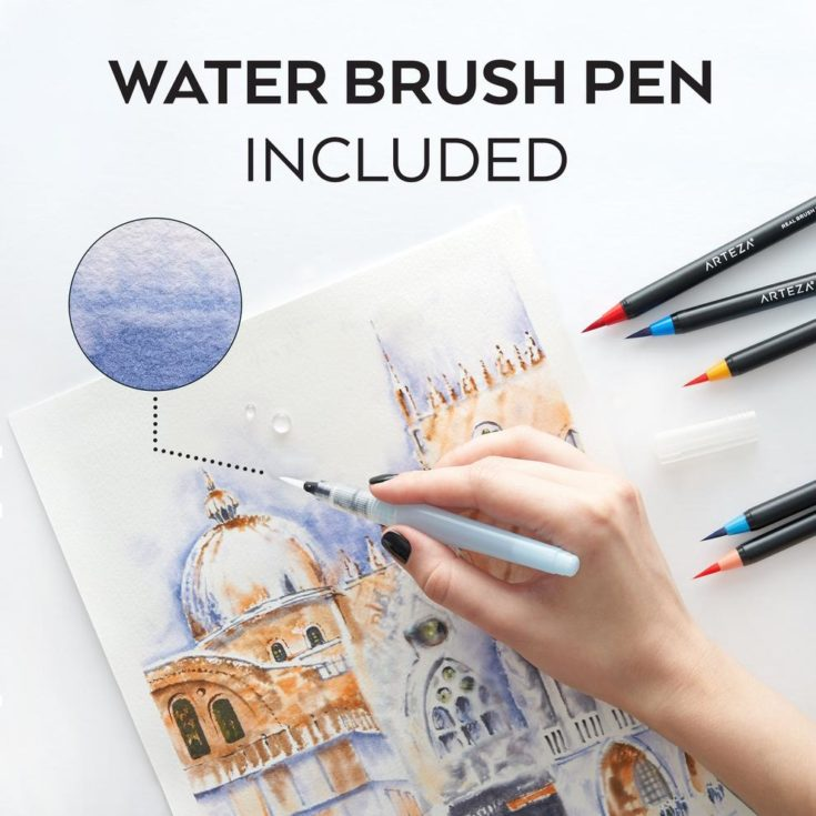 a hand holding a water brush pen - water color painting using arteza brush pen